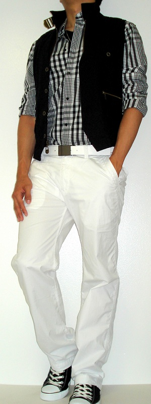 Men's Black Vest Black Checked Shirt White Belt White Pants Black Canvas Shoes