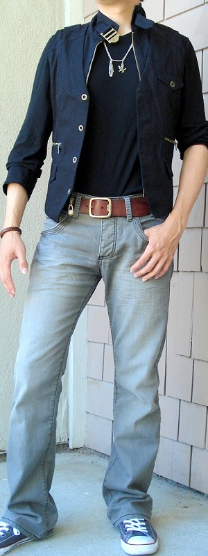 Men's Black Vest Brown Leather Belt Gray Jeans Gray Shoes