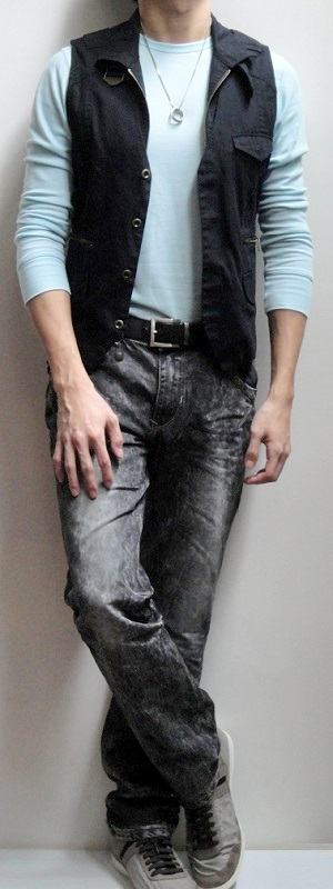 Men's Black Vest Light Blue Crew Neck Long Sleeve Tee Dark Brown Belt Black Snow Jeans Gray Sneakers