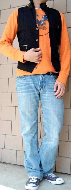 Black Vest Orange Graphic Tee Brown Cotton Belt Brown Canvas Shoes