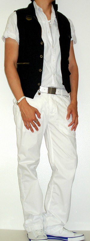 Men's Black Vest White Shirt White Belt White Pants White Sneakers