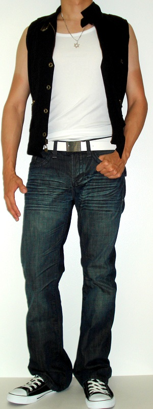 Men's Black Vest White Tank Vest White Belt Black Shoes