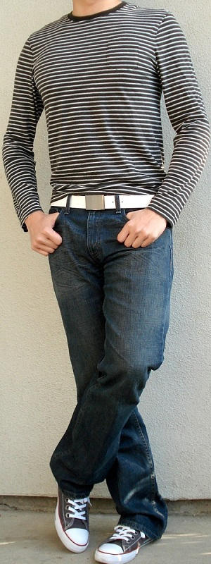 Men's Black White Striped Long Sleeve T-Shirt White Leather Belt Gray Shoes