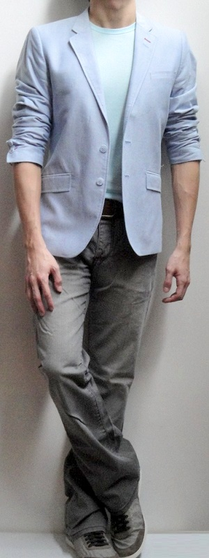 Men's Blue Blazer Light Blue Crew Neck T-shirt Brown Leather Belt Gray Jeans Gray Sneakers