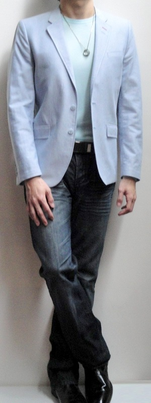 Blue Blazer Light Blue Crew Neck T-shirt Dark Blue Jeans Black Leather Loafers