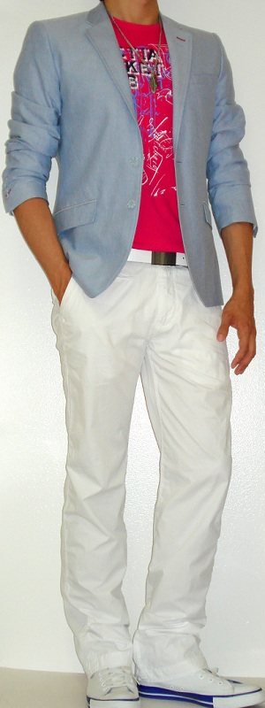 Men's Blue Blazer Pink Graphic Tee White Belt White Pants White Shoes