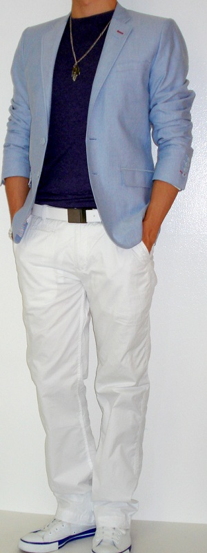 Men's Blue Blazer Purple T-Shirt White Pants White Belt White Sneakers