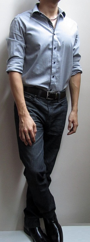 Blue Grey Shirt Dark Brown Belt Black Jeans Black Leather Shoes