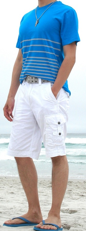 Men's Blue T-Shirt White Shorts Blue Sandals