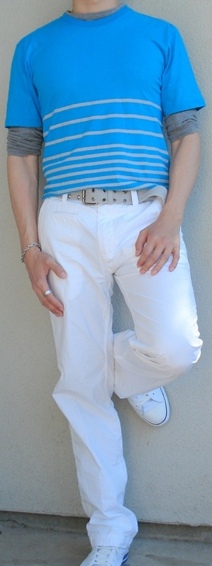 Men's Blue Tee Gray T-Shirt Gray Belt White Pants White Shoes