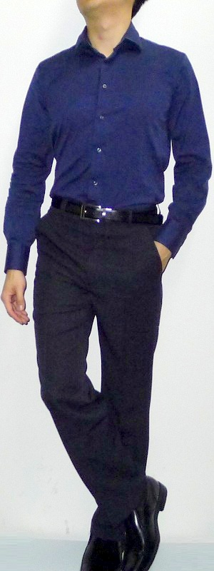 Dark blue shirt black pants black shoes black belt men 39 s Black shirt blue jeans