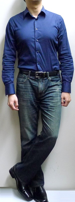 Men's Dark Blue Dress Shirt Dark Blue Jeans Black Dress Shoes Black Leather Belt