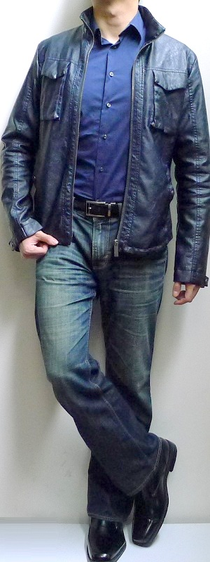 Men's Dark Blue Leather Jacket Dark Blue Shirt Dark Blue Jeans Black Shoes Black Belt