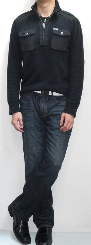 Men's Dark Blue Turtleneck Sweater White Leather Belt Black Dress Shoe