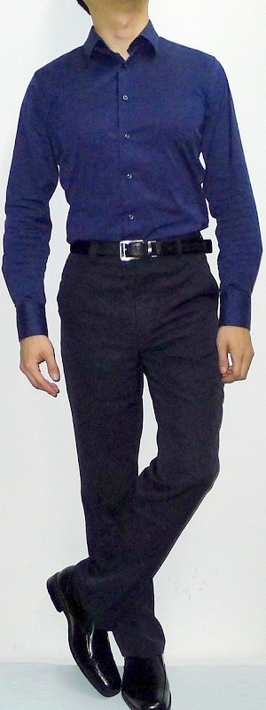 Dark Blue Shirt Black Pants Black Shoes Black Belt