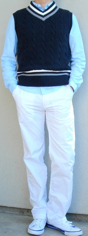 Men's Dark Blue Sweater Vest Blue Dress Shirt White Pants White Shoes