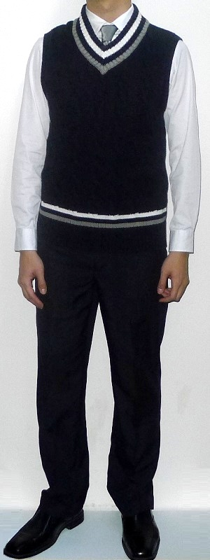 Dark Blue V-neck Sweater Vest Silver Tie White Dress Shirt Navy Dress Pants Black Leather Shoes
