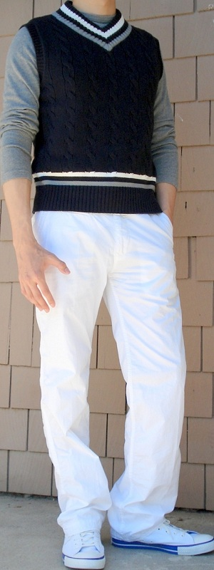 Men's Dark Blue Vest Gray T-Shirt White Pants White Shoes