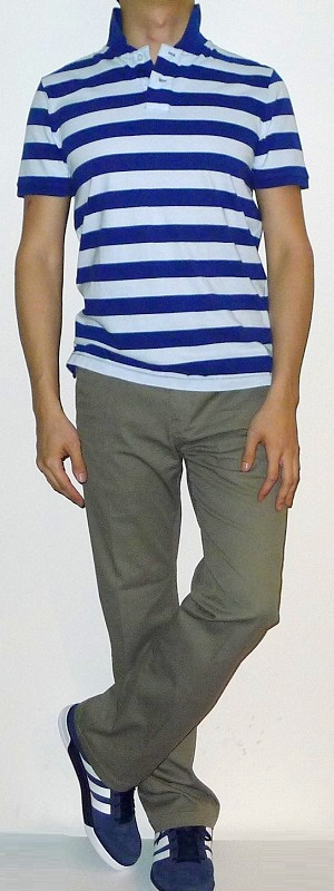 Men's Dark Blue White Striped Polo Dark Khaki Pants Dark Blue Sneakers