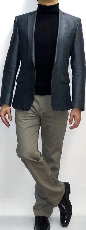 Men's Dark Gray Blazer Black Turtleneck Khaki Pants Black Shoes