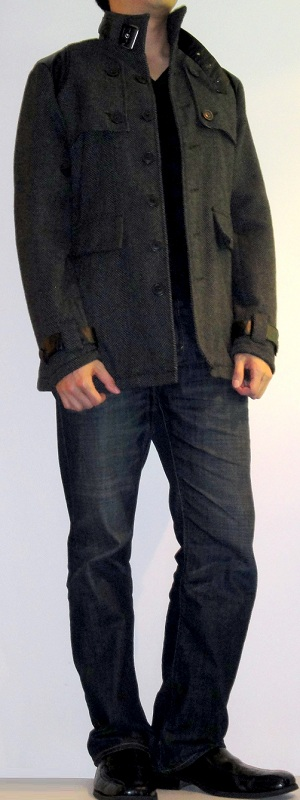 Dark gray pea coat black v neck t shirt dark blue jeans Black shirt blue jeans