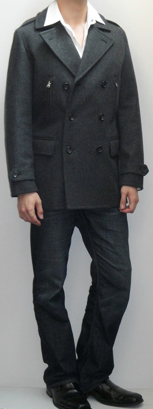 Dark Gray Pea Coat White Shirt Dark Blue Bootcut Jeans Black Leather Loafers