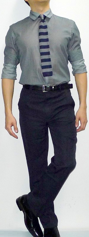 Men's Dark Gray Shirt Blue Gray Striped Tie Black Pants Black Shoes Black Belt