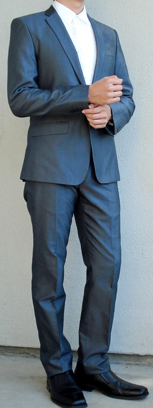 Men's Dark Gray Suit White Tuxedo Shirt