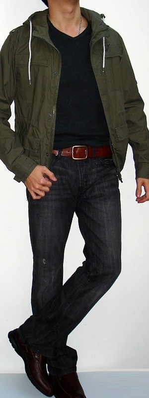 Dark Green Jacket Dark Gray T-shirt Brown Belt Black Jeans Brown Shoes