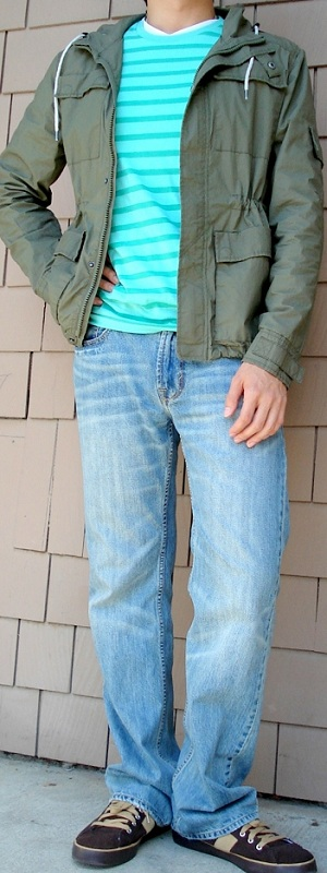 Dark Green Jacket Green Striped T-Shirt Light Blue Jeans Brown Sneakers
