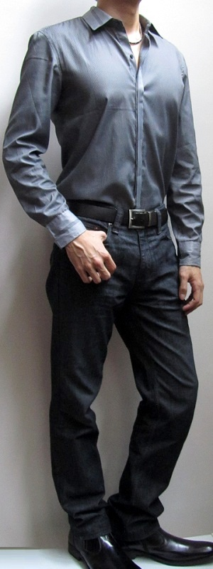 Men's Gray Dress Shirt Black Belt Black Jeans Black Leather Shoes
