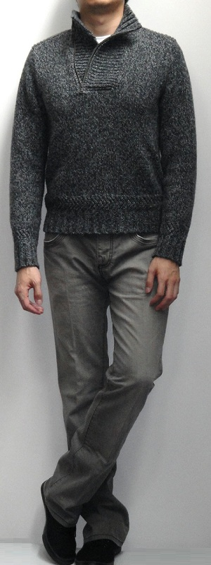 Dark Grey Marled Mock Neck Sweater White T-Shirt Gray Bootcut Jeans Black Sneakers