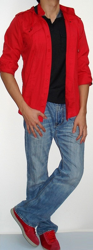 Dark Orange Hooded Shirt Black T-shirt Light Blue Jeans Red Shoes