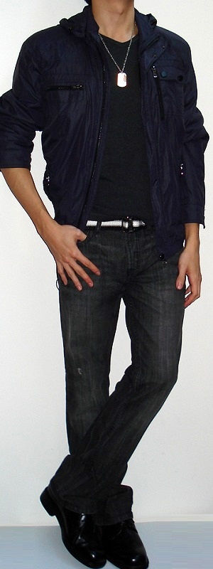 Men's Dark Purple Jacket Dark Gray T-shirt Black White Belt Black Jeans Black Shoes