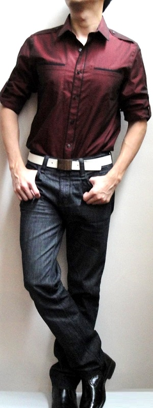 Men's Dark Red Fitted Dress Shirt White Leather Belt Black Jeans Black Leather Shoes
