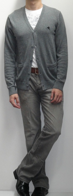 Gray Cardigan White Graphic T-Shirt Brown Belt Gray Jeans Black Leather Loafers