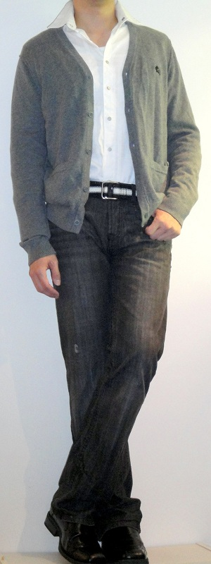 Men's Gray Cardigan White Shirt Black Webbing Belt Black Jeans Black Dress Shoes