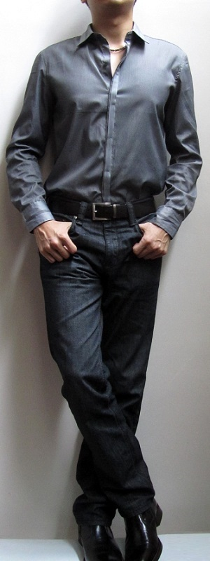 Gray Dress Shirt Black Belt Black Jeans Black Leather Shoes