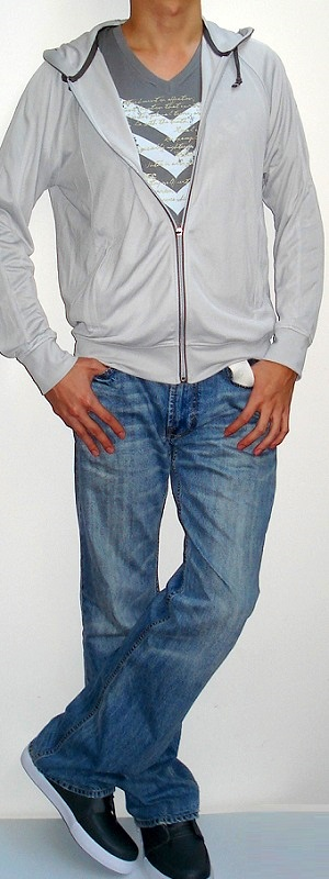 Gray Hooded Jacket Gray V-neck Graphic Tee White Belt Light Blue Jeans Gray Shoes