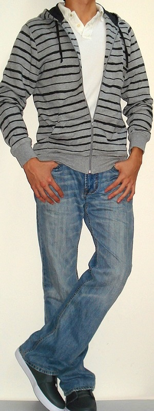 Men's Gray Hooded Jacket White Polo Light Blue Jeans Gray Shoes