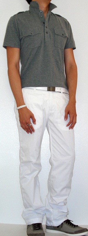 Men's Gray Polo Grey Shoes White Belt White Pants