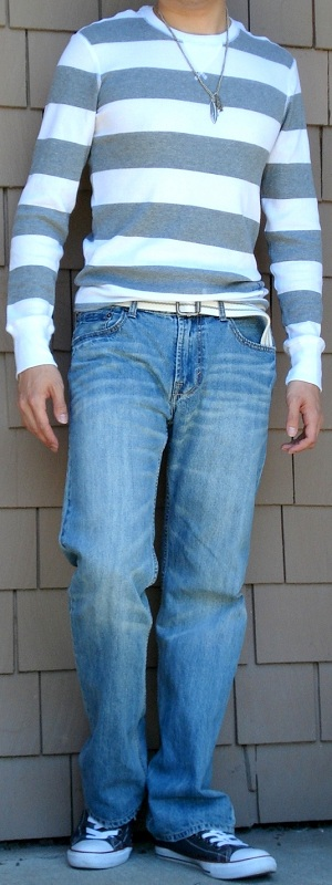 Men's Gray White Striped Sweater Gray Shoes