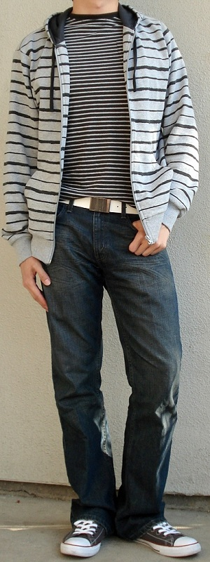 Men's Gray Zip Jacket Gray Shoes Black Striped T-Shirt White Leather Belt
