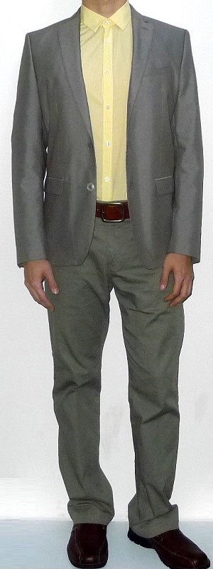 Men's Khaki Blazer Yellow Dress Shirt Brown Leather Belt Khaki Pants Brown Leather Shoes