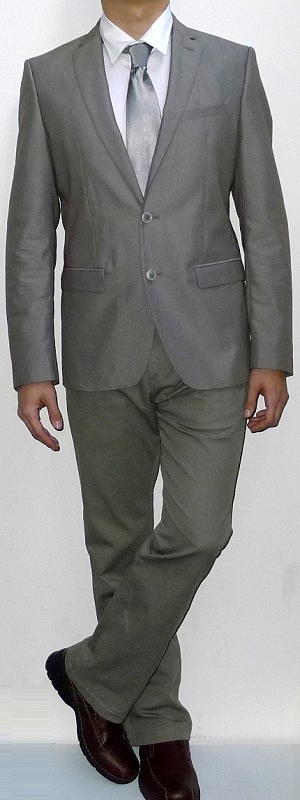 Khaki Suit Jacket Silver Tie White Dress Shirt Khaki Pants Brown Leather Shoes