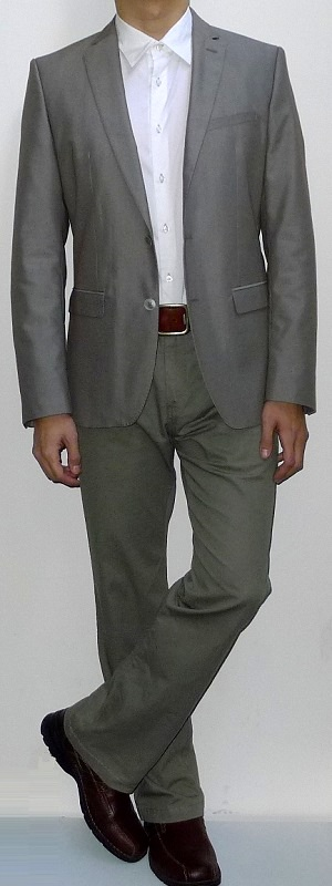 Men's Khaki Suit Jacket White Dress Shirt Brown Belt Khaki Pants Brown Leather Shoes