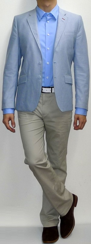 Light Blue Blazer Light Blue Dress Shirt Khaki Pants Suede Ankle Boots White Belt