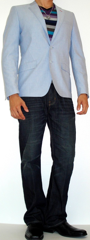 Men's Sky Blue Blazer Purple Striped Sweater White Leather Belt Black Leather Shoes