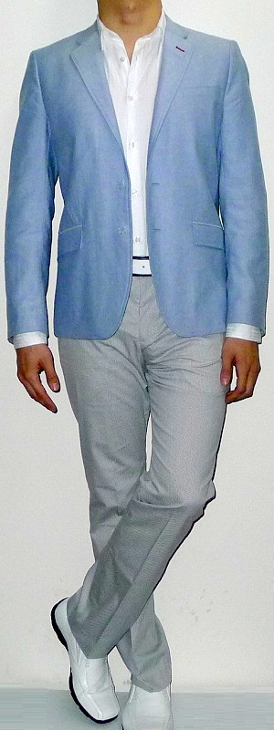 Light Blue Blazer White Dress Shirt Gray Suit Pants White Dress Shoes White Belt