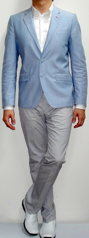 Men's Light Blue Blazer White Dress Shirt Gray Suit Pants White Dress Shoes White Belt